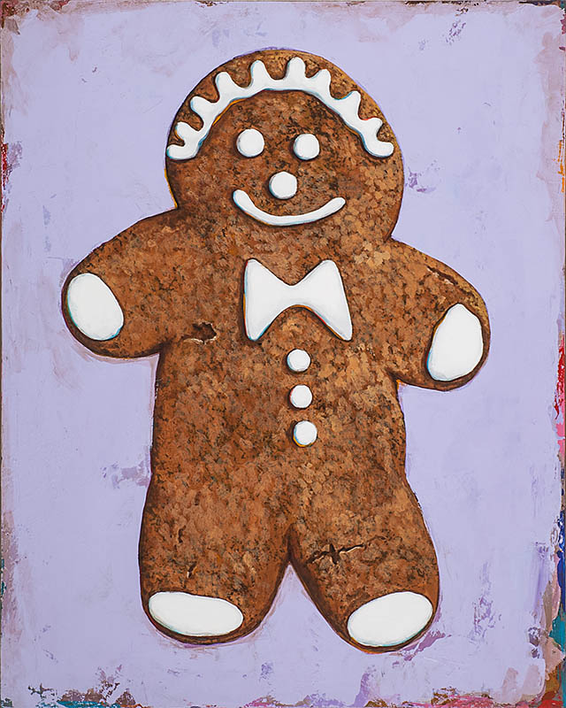 Gingerbread man retro Pop Art painting by Los Angeles artist David Palmer