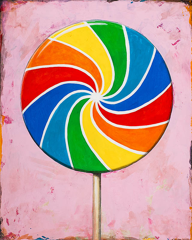 Lollipop 1 retro Pop Art painting by Los Angeles artist David Palmer