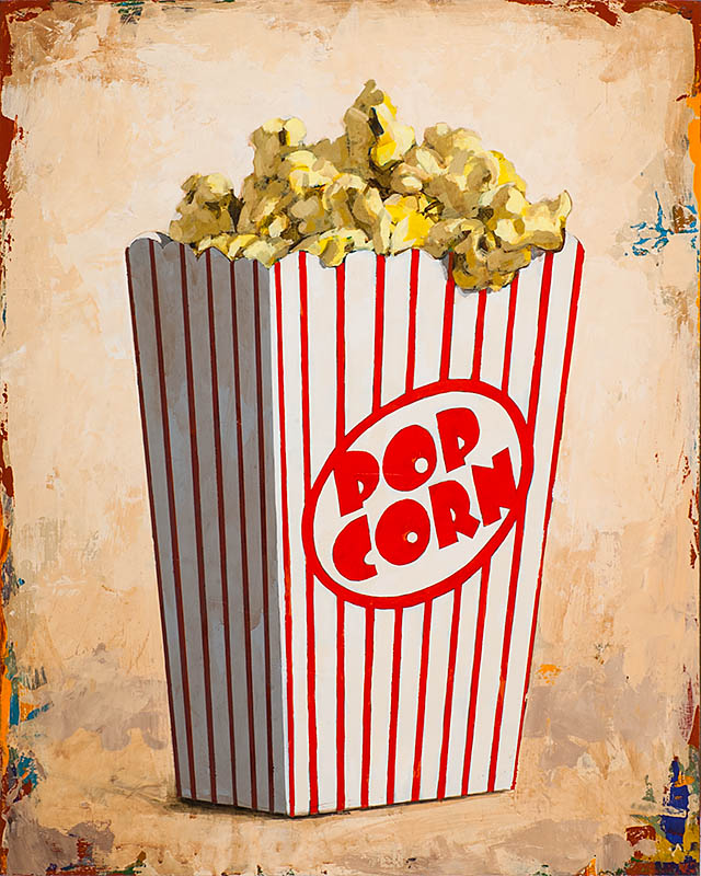 Popcorn retro Pop Art painting by Los Angeles artist David Palmer