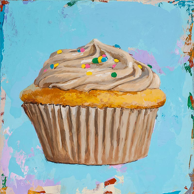 Cupcake 1 retro Pop Art painting by Los Angeles artist David Palmer