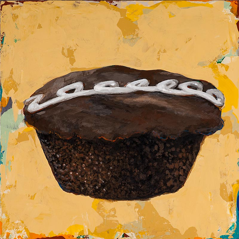 Cupcake 2 retro Pop Art painting by Los Angeles artist David Palmer
