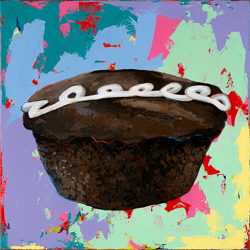 Cupcake 3 retro Pop Art painting by Los Angeles artist David Palmer