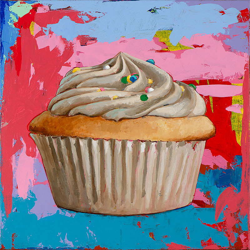Cupcake 4 retro Pop Art painting by Los Angeles artist David Palmer