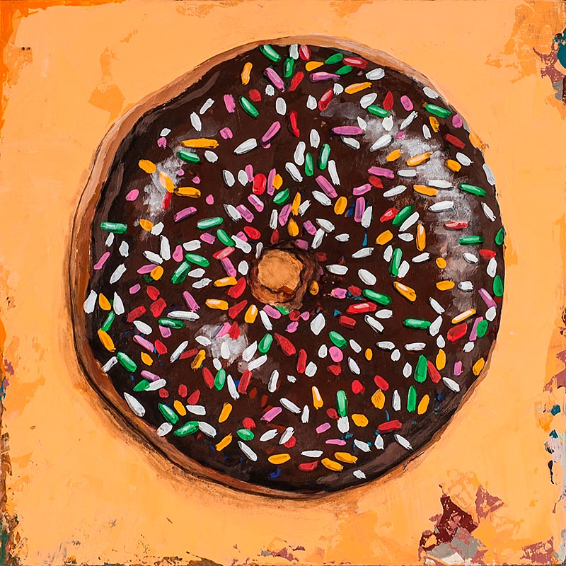Donut 2 retro Pop Art painting by Los Angeles artist David Palmer