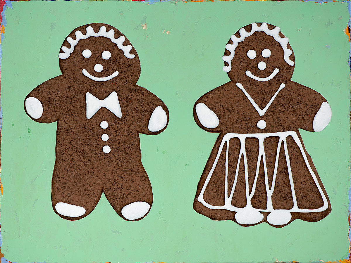 Ginger Bread pair retro Pop Art painting by Los Angeles artist David Palmer