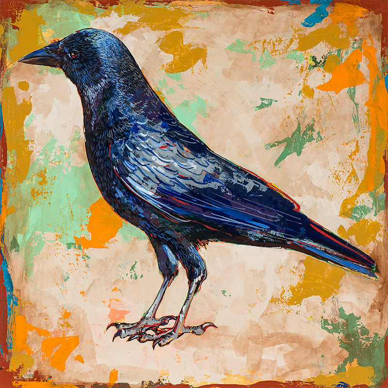 Crow 1, painting by Los Angeles artist David Palmer, acrylic on wood, art