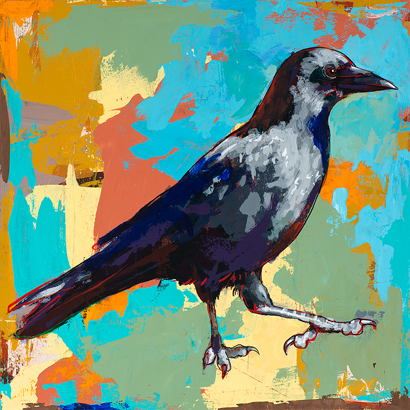 Crow 2, painting by Los Angeles artist David Palmer, acrylic on wood, art