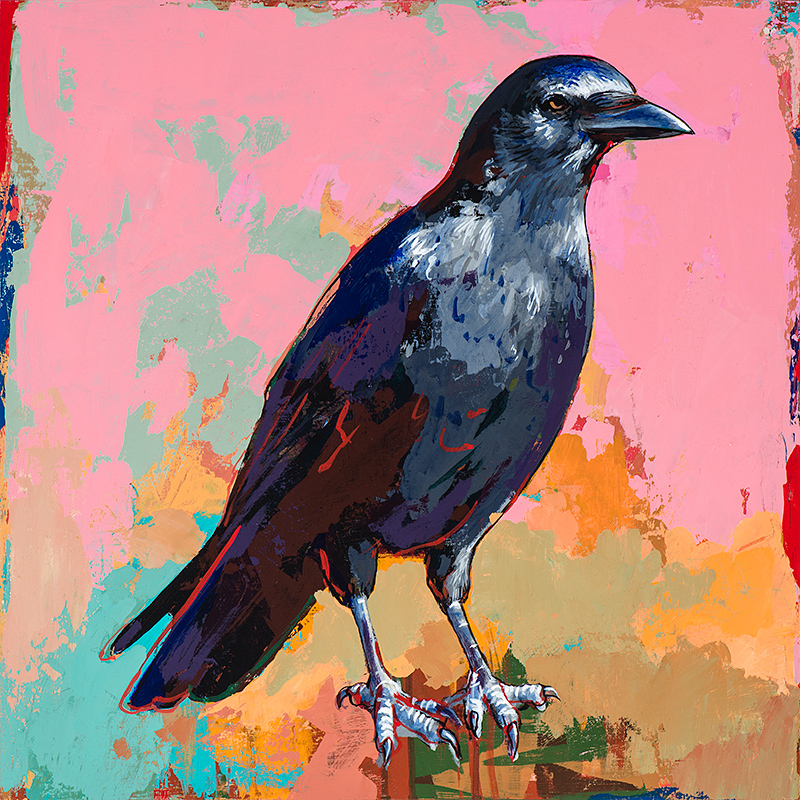 Crow 3, painting by Los Angeles artist David Palmer, acrylic on wood, art