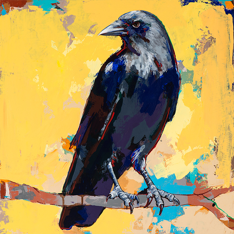 Crow 4, painting by Los Angeles artist David Palmer, acrylic on wood, art