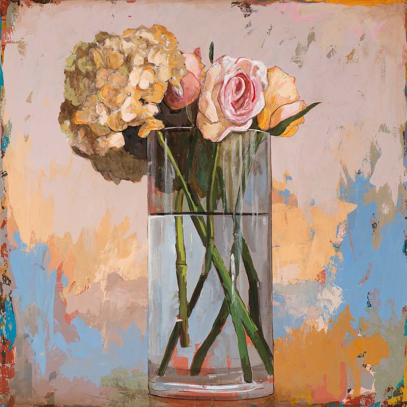 Flowers 2, painting by Los Angeles artist David Palmer, acrylic on canvas, art