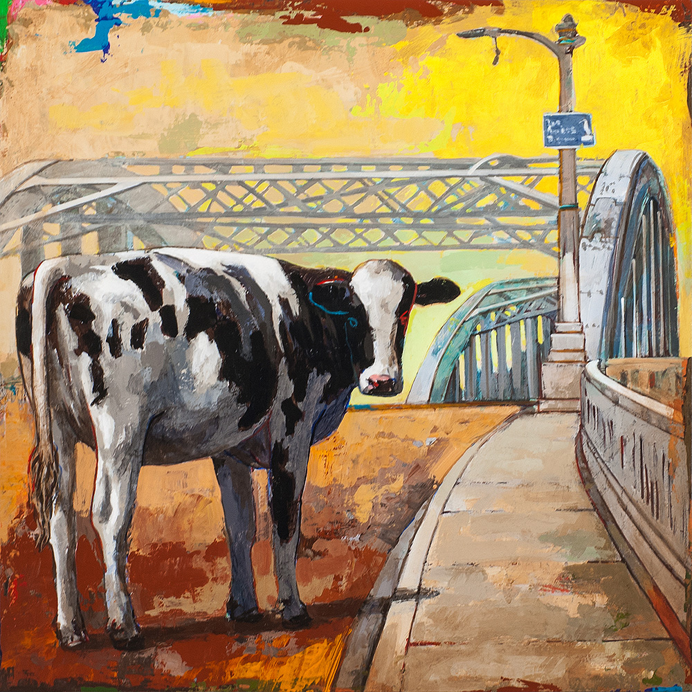Positively 6th Street, painting of a cow on the 6th Street Bridge by Los Angeles artist David Palmer, acrylic on wood, art