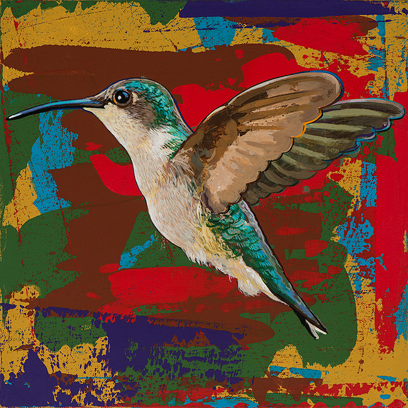 Hummingbird 12, painting by Los Angeles artist David Palmer, acrylic on canvas, art