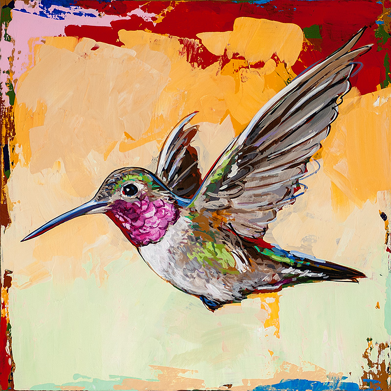 Hummingbird 13, painting by Los Angeles artist David Palmer, acrylic on canvas, art
