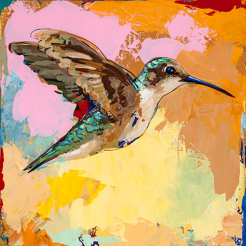 Hummingbird 14, painting by Los Angeles artist David Palmer, acrylic on canvas, art