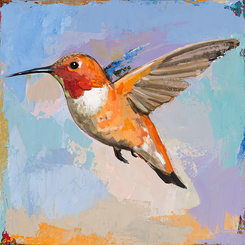 Hummingbird 7, painting by Los Angeles artist David Palmer, acrylic on canvas, art