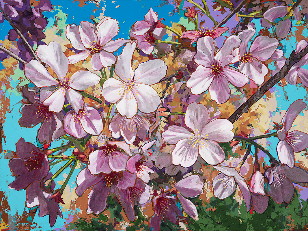 CherryBlossoms 1, painting by Los Angeles artist David Palmer, acrylic on canvas, art