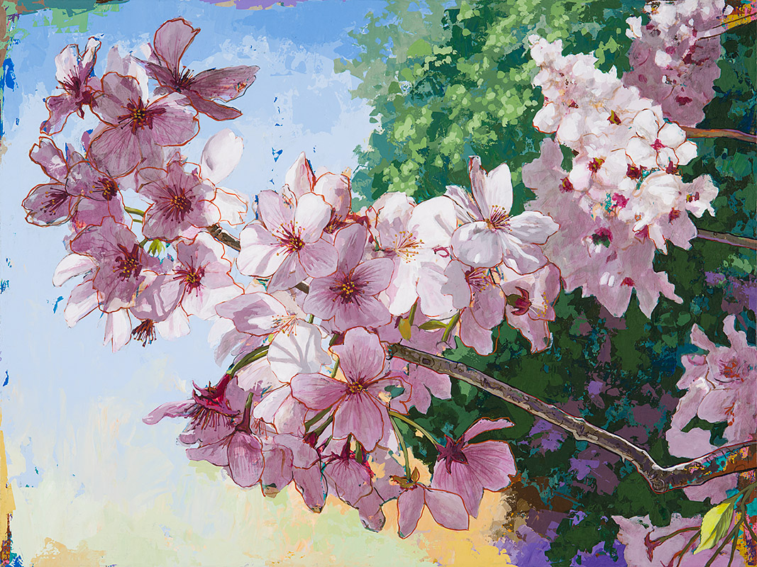 CherryBlossoms 2, painting by Los Angeles artist David Palmer, acrylic on canvas, art