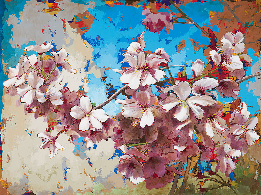 CherryBlossoms 3, painting by Los Angeles artist David Palmer, acrylic on canvas, art