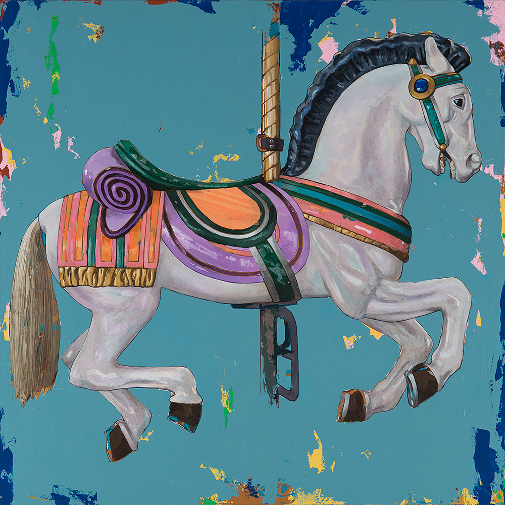 Horses 2, painting by Los Angeles artist David Palmer, acrylic on canvas, art