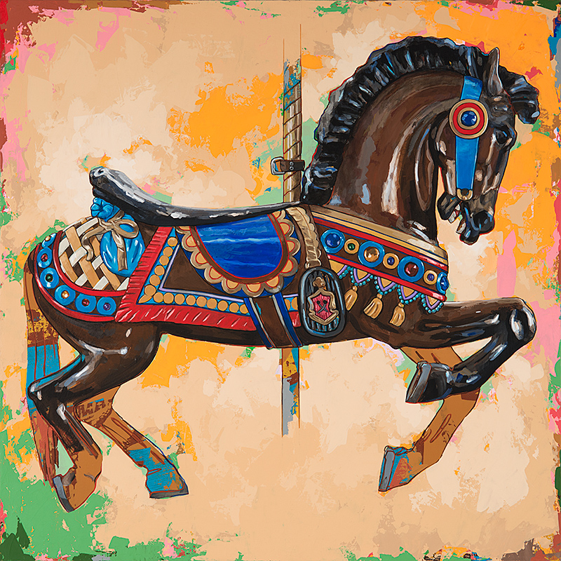 Horses 3, painting by Los Angeles artist David Palmer, acrylic on canvas, art