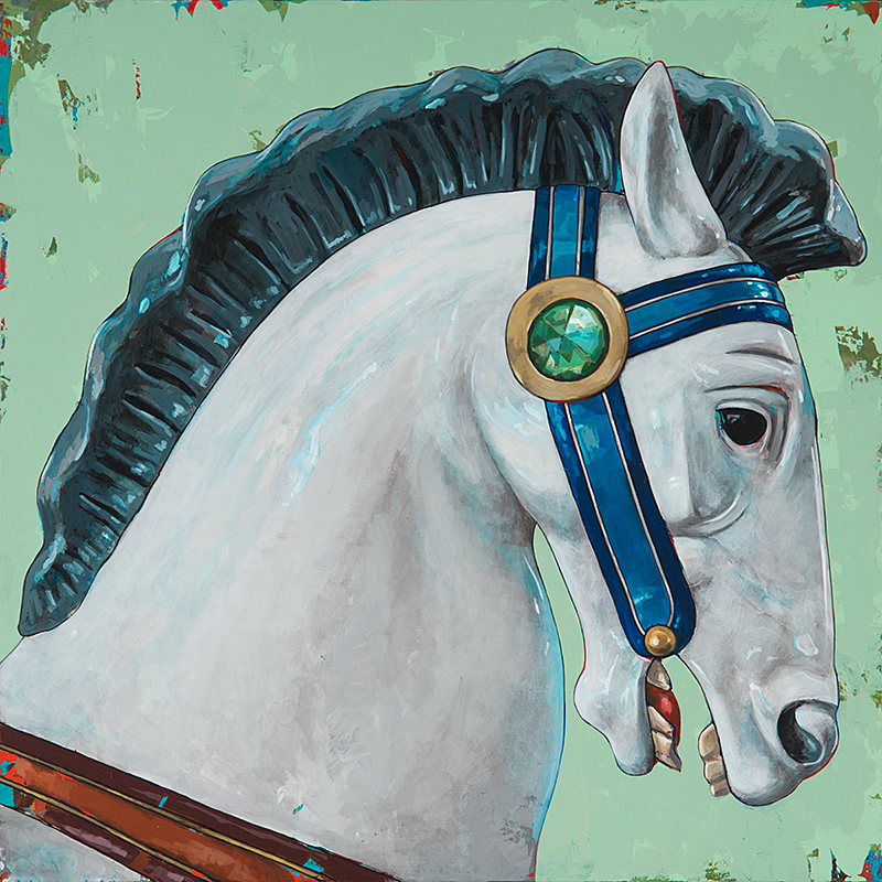 Horses 4, painting by Los Angeles artist David Palmer, acrylic on canvas, art