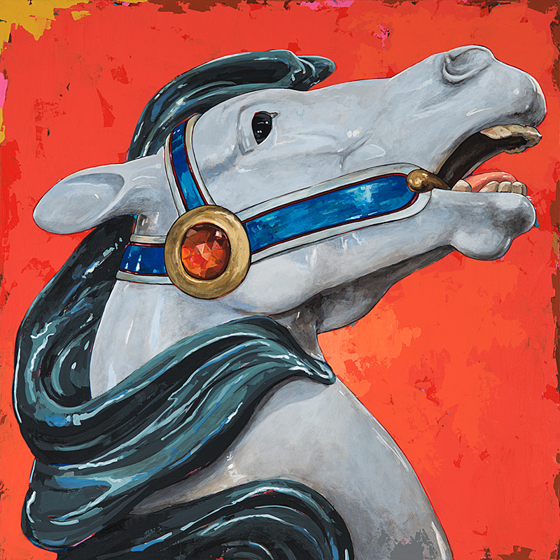 Horses 5, painting by Los Angeles artist David Palmer, acrylic on canvas, art