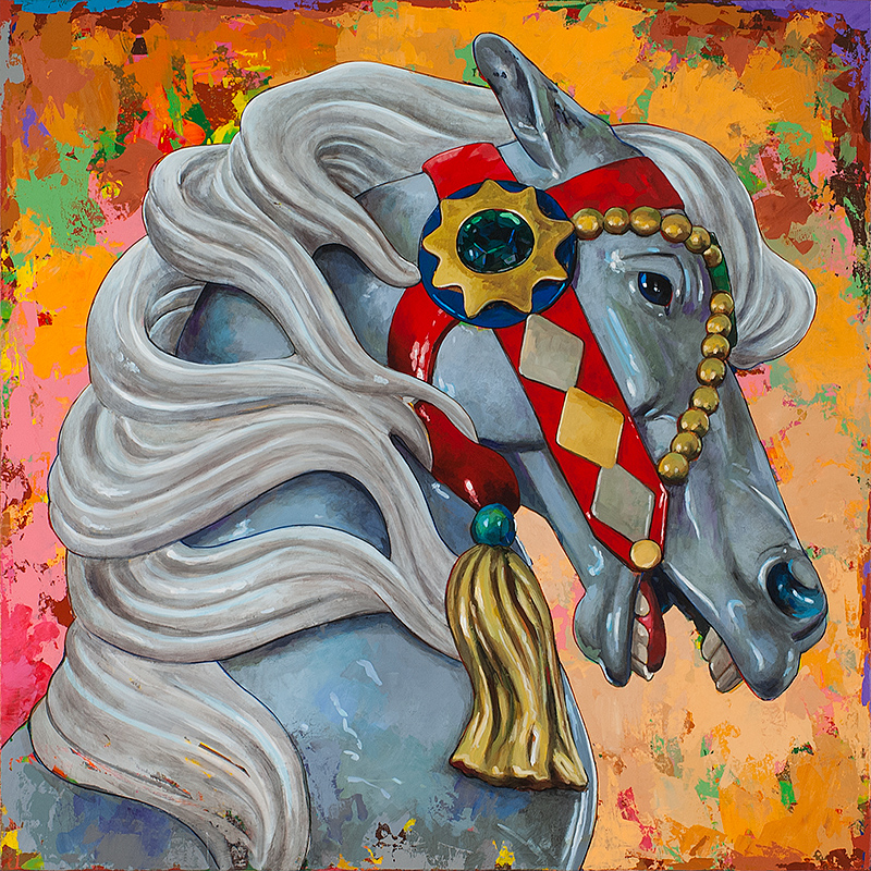 Horses 6, painting by Los Angeles artist David Palmer, acrylic on canvas, art