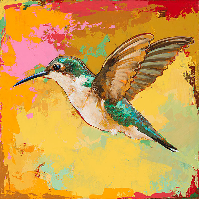 Hummingbird19, painting by Los Angeles artist David Palmer, acrylic on canvas, art