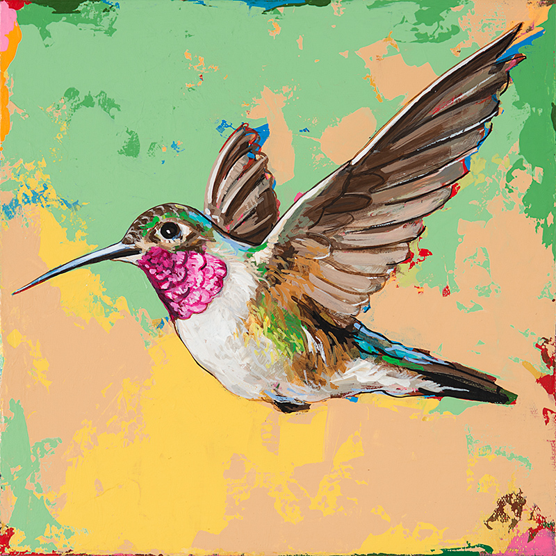Hummingbird21, painting by Los Angeles artist David Palmer, acrylic on canvas, art
