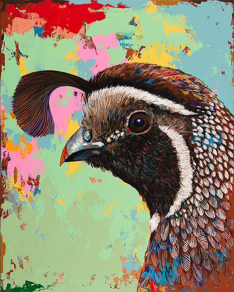 Quail, painting by Los Angeles artist David Palmer, acrylic on canvas, art