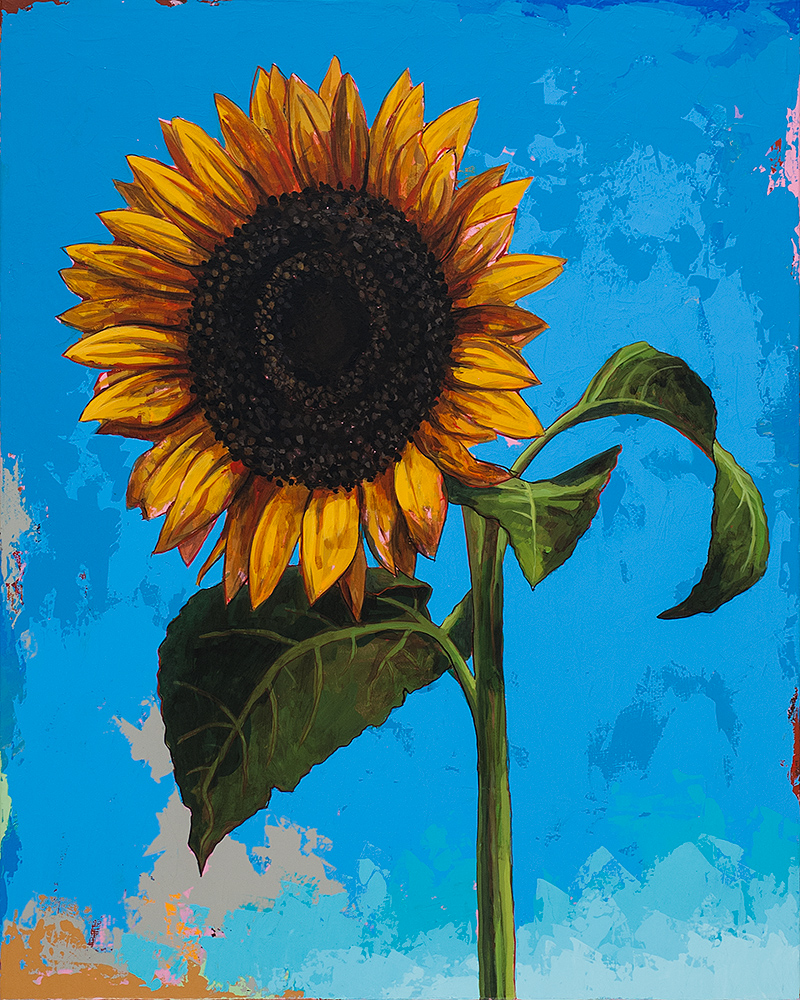 Sunflowers 2, painting by Los Angeles artist David Palmer, acrylic on canvas, art