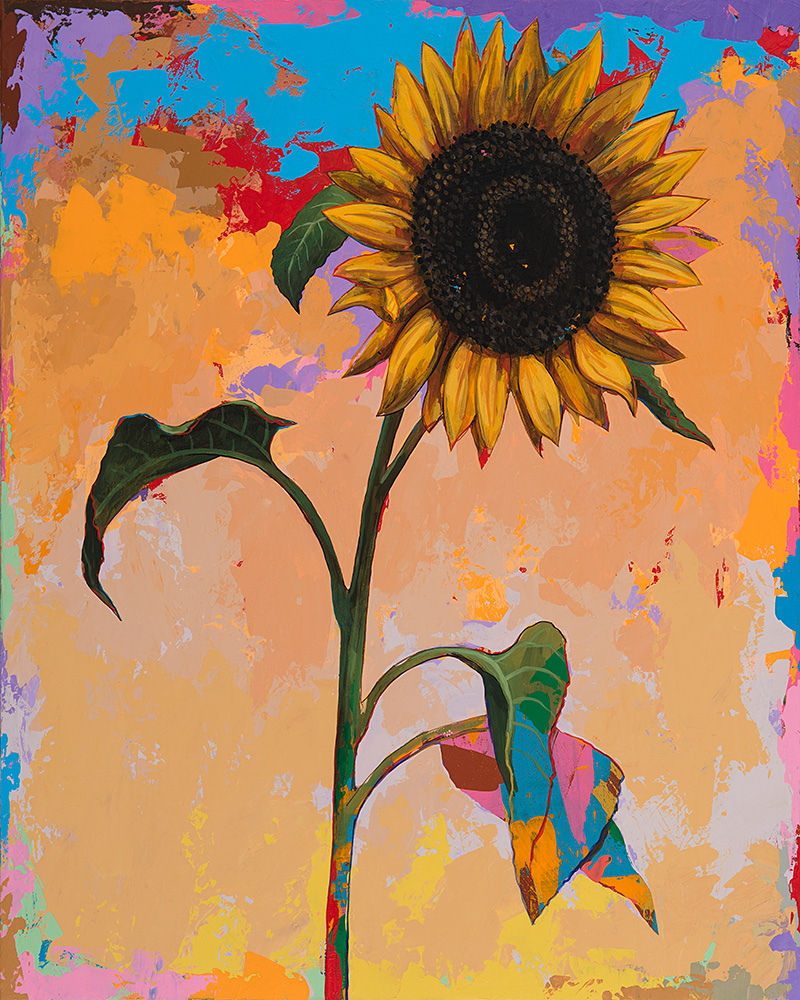 Sunflower 2, painting by Los Angeles artist David Palmer, acrylic on canvas, art