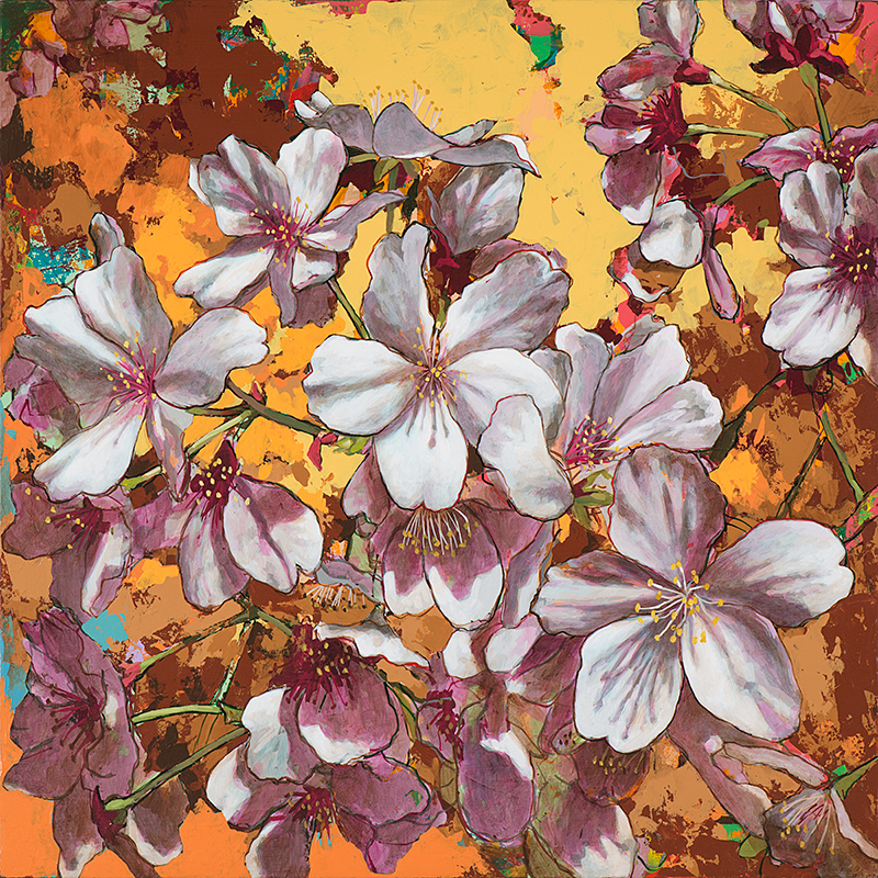 Cherry Blossoms 4, painting by Los Angeles artist David Palmer, acrylic on canvas, art