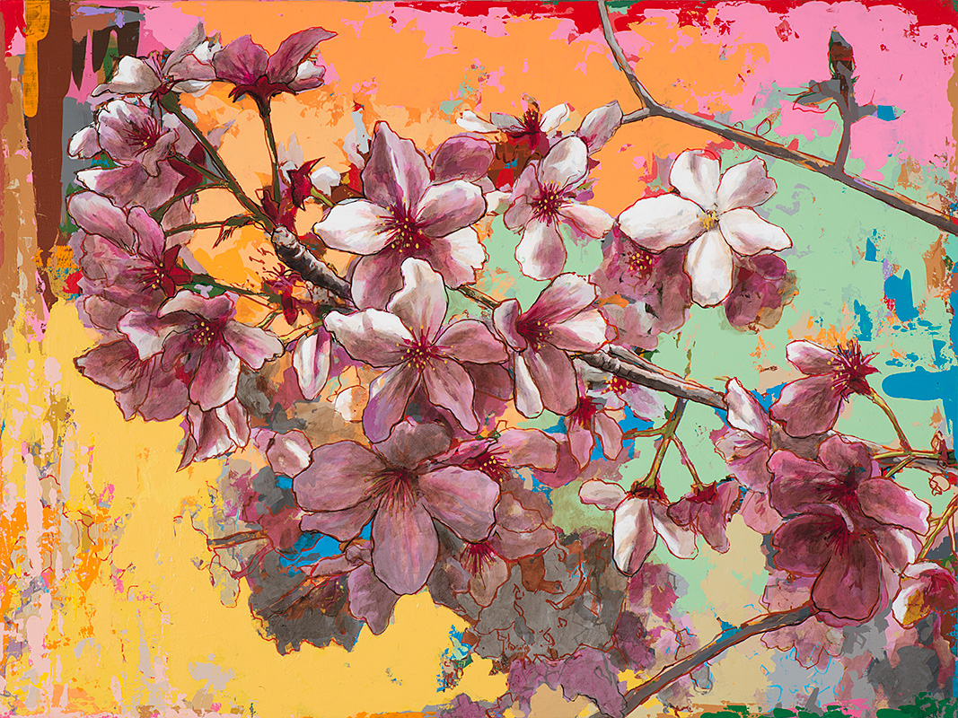 Cherry Blossoms 5, painting by Los Angeles artist David Palmer, acrylic on canvas, art