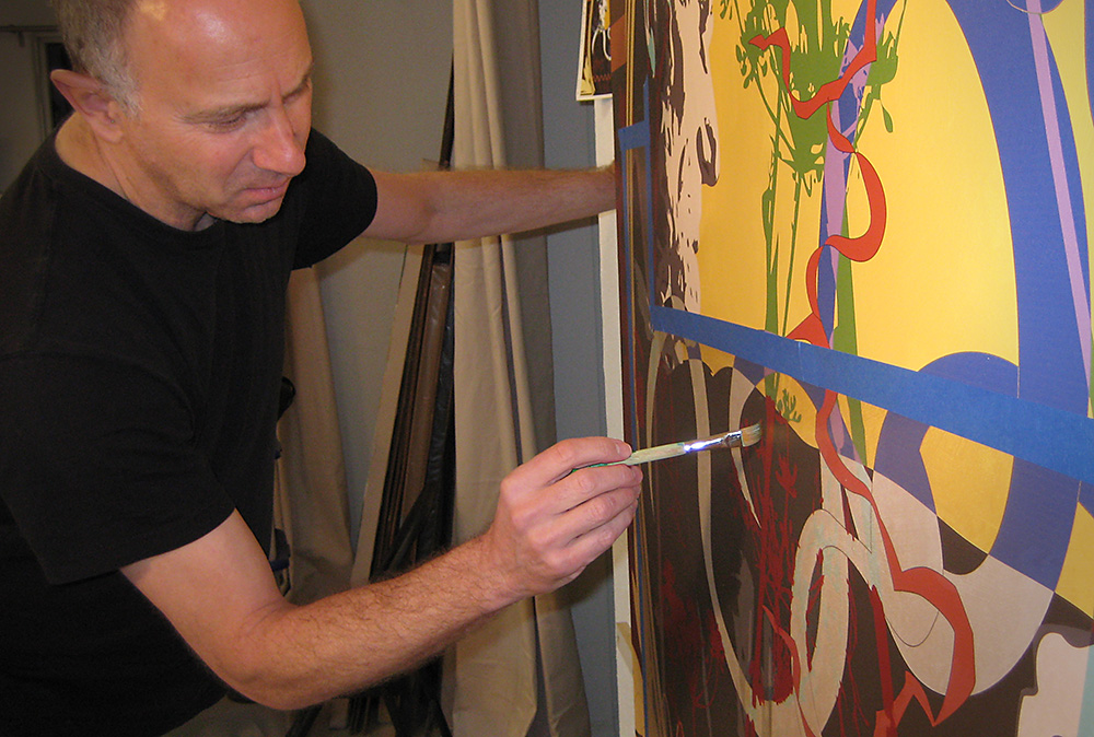 photograph of Los Angeles artist David Palmer in his studio