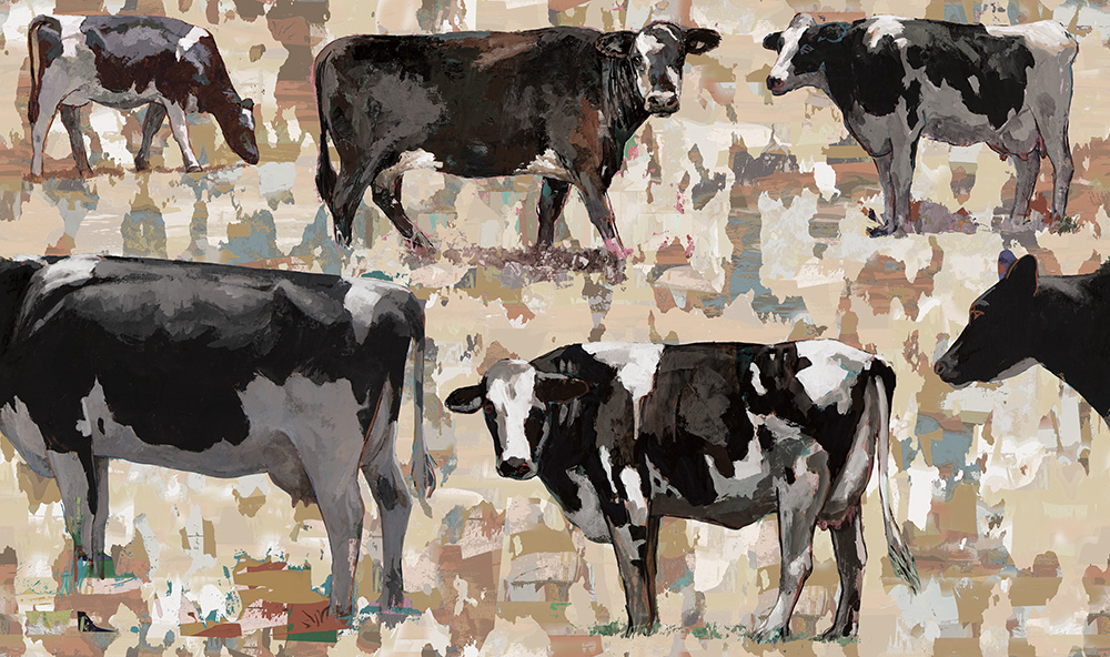 cow 2 retro Pop Art wallpaper by Los Angeles artist David Palmer for ROLLOUT