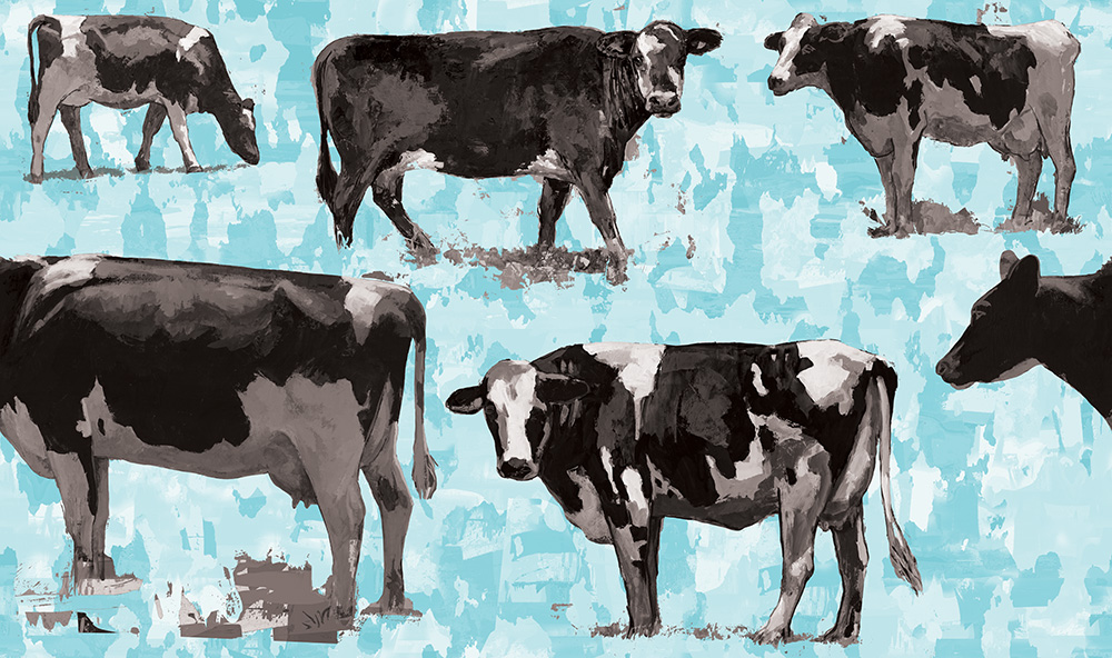 cow 6 retro Pop Art wallpaper by Los Angeles artist David Palmer for ROLLOUT